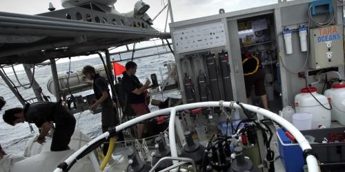 Equipe sur bateau Tara